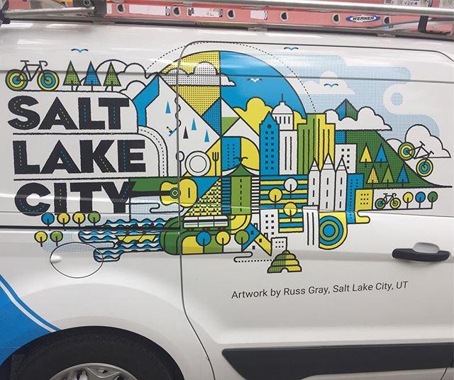 Artwork on a Google Fiber van
